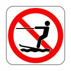 No water skiing allowed sign, decals stickers