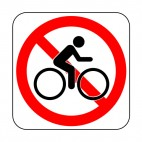 No bicycling allowed sign, decals stickers