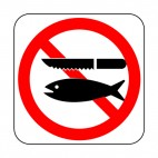 Fish disemboweling prohibited sign, decals stickers