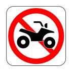 No quad bike allowed sign, decals stickers