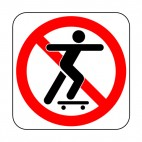 No skateboarding allowed sign, decals stickers
