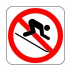 Downhill skiing prohibited sign, decals stickers