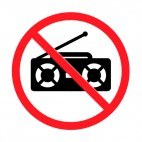 No radio transmitter allowed sign, decals stickers