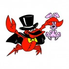 Magician crab with bunny, decals stickers