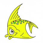 Shy yellow angelfish, decals stickers