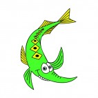 Green smiling fish, decals stickers