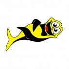 Black and yellow fish laughing, decals stickers