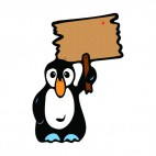 Penguin with sign, decals stickers