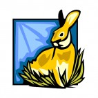 Hare sitting down on grass, decals stickers