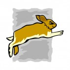 Brown hare jumping, decals stickers