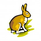 Brown and white hare sitting down, decals stickers