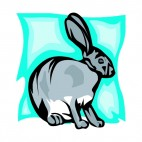 Grey hare sitting down, decals stickers