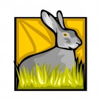 Grey hare standing in grass, decals stickers