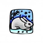 Rabbit in the snow, decals stickers