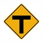 T intersection warning sign, decals stickers