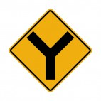 Y intersection warning sign, decals stickers