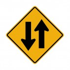 Two way traffic warning sign, decals stickers