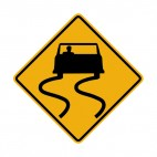 Road is slippery when wet warning sign , decals stickers
