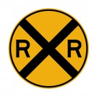 Rail road warning sign, decals stickers