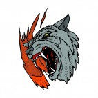 Grey wolf roaring drawing, decals stickers