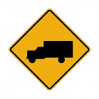 Truck warning sign, decals stickers