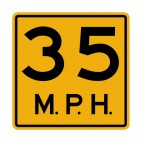 35 MPH speed limit warning sign, decals stickers