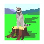 Racoon standing on tree trunk, decals stickers