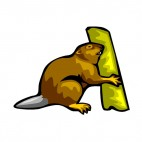 Beaver eating tree trunk , decals stickers