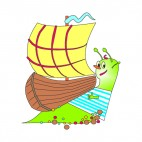 Snail with boat on his back, decals stickers