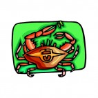 Crab pulling a twig, decals stickers