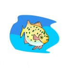 Yellow with green spots fish, decals stickers