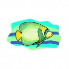 Yellow and green angelfish, decals stickers