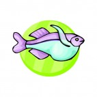 Purple and green fish, decals stickers