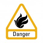 Inflammable danger sign, decals stickers