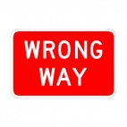 Wrong way sign, decals stickers