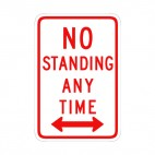 No standing any time sign, decals stickers