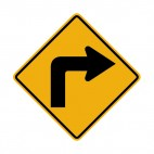 Sharp right turn warning sign, decals stickers