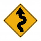 Left winding road warning sign, decals stickers