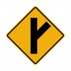 3 way intersection right side warning sign, decals stickers