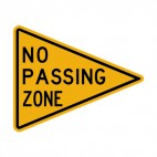 No passing zone warning sign, decals stickers