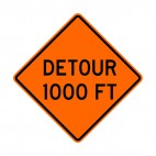 Detour at 1000 FT sign, decals stickers