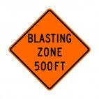 Blasting zone at 500 FT sign, decals stickers