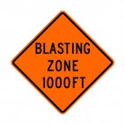 Blasting zone at 1000 FT sign, decals stickers