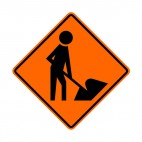 Road construction sign, decals stickers