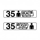 Airplane seat row indication sign, decals stickers