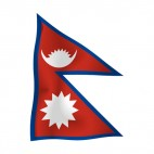 Nepal waving flag, decals stickers