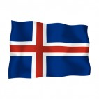 Iceland waving flag, decals stickers