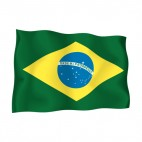 Brazil waving flag, decals stickers