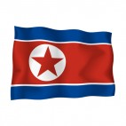 North Korea waving flag, decals stickers