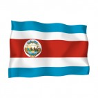 Costa Rica waving flag, decals stickers